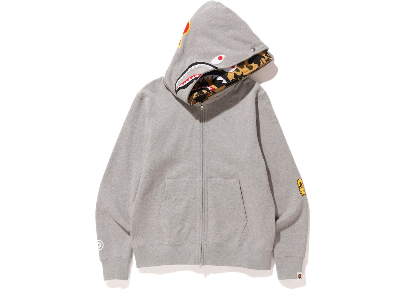 7bf2165b933e BAPE 2nd Shark Wide Full Zip Double Hoodie Gray - SS18
