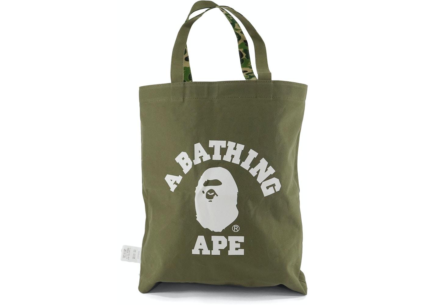 Bape Abc Camo College Logo Reversible Tote Bag Green