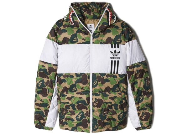 197594fb65a0 BAPE X adidas ABC Camo Firebird Shark Puffer Jacket Green