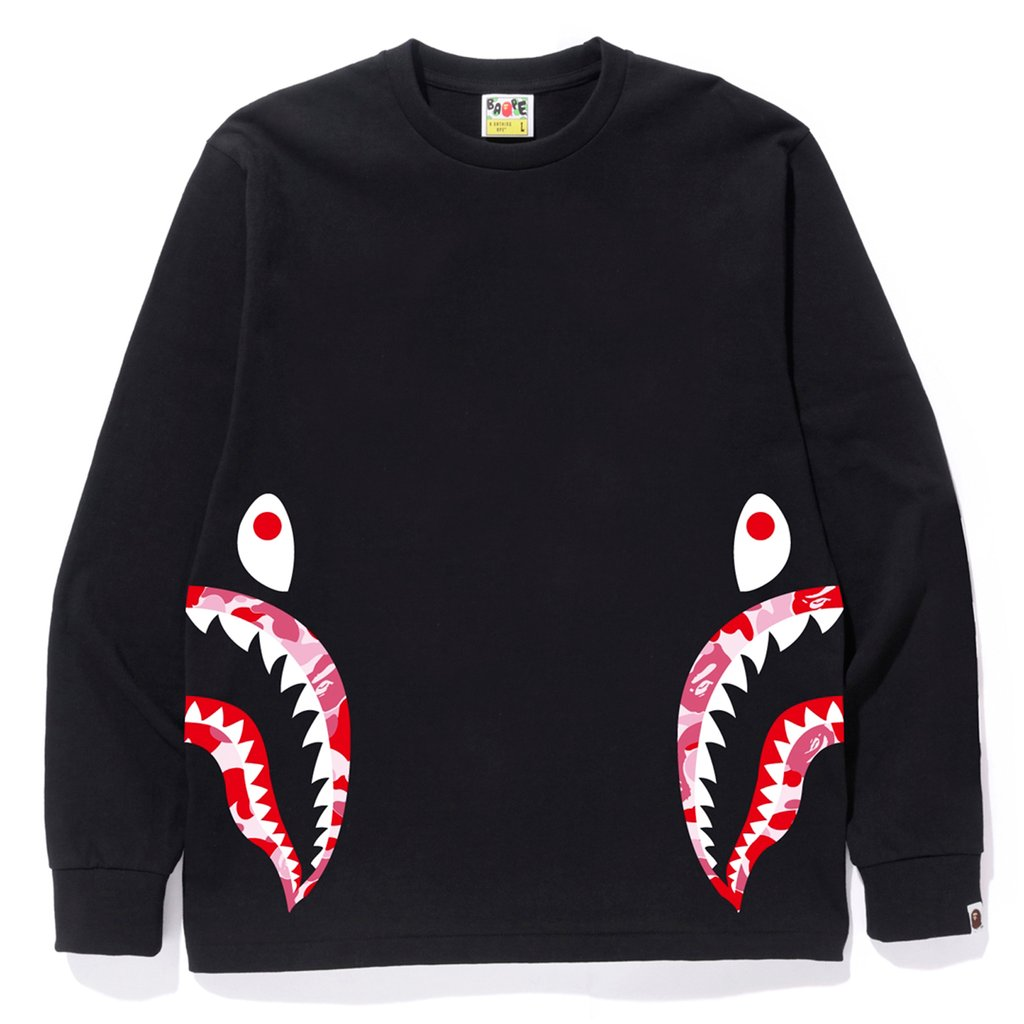 BAPE ABC Side Shark L/S Tee Black/Pink