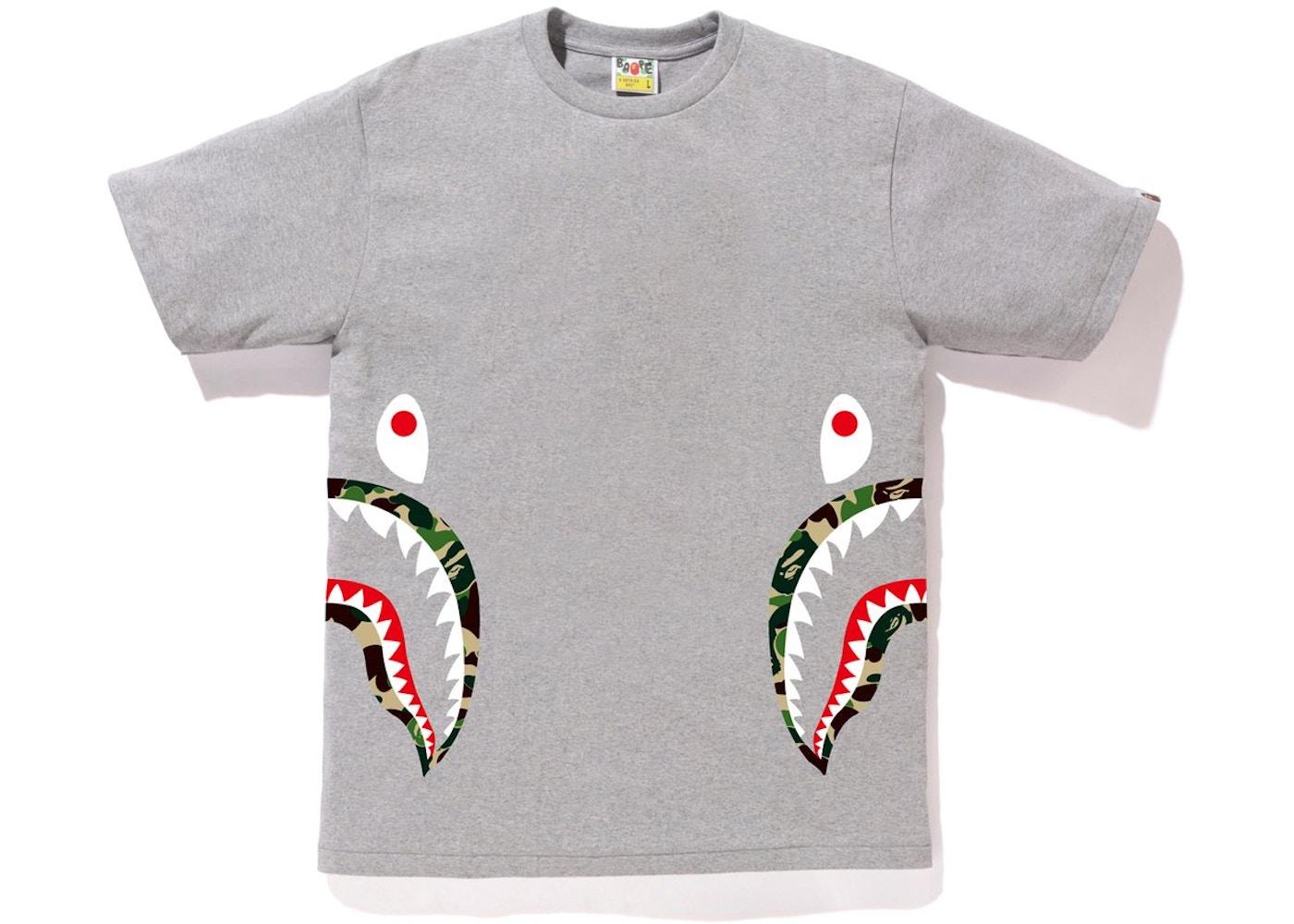 accff884 BAPE ABC Side Shark Tee Gray/Green - SS18