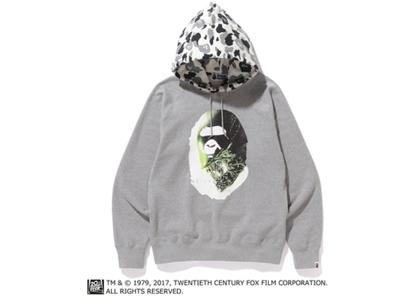 b66df91067b3 BAPE Alienposter Ape Head Pullover Hoodie Gray