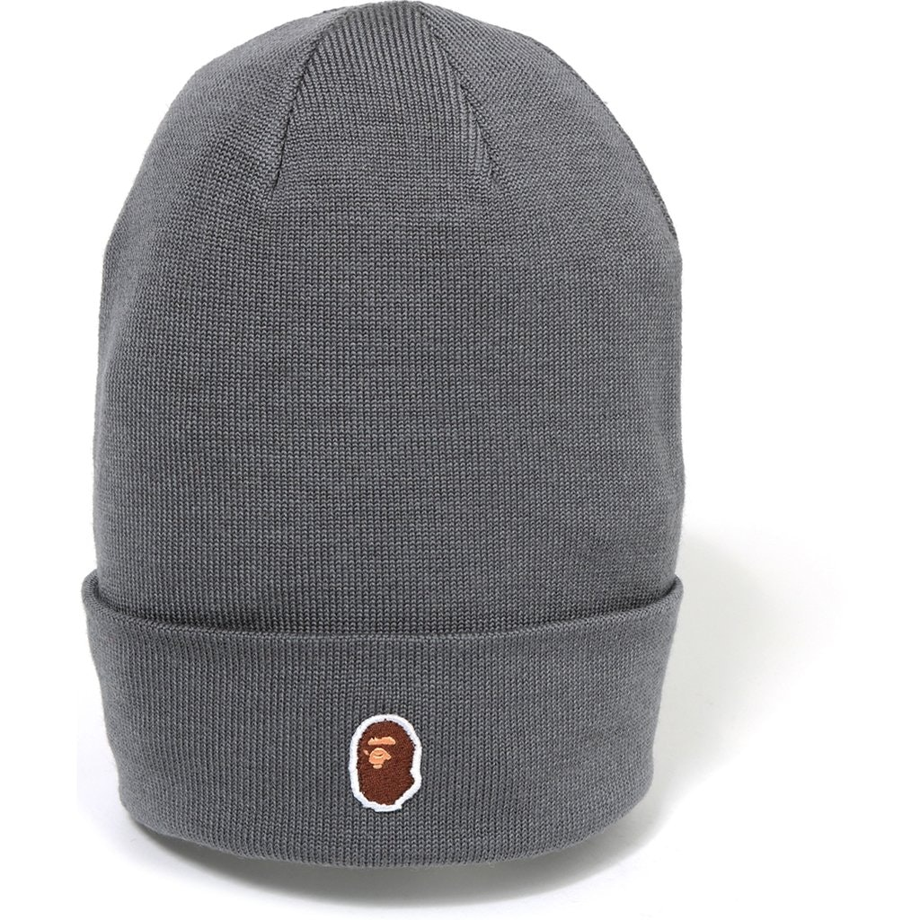 BAPE Ape Head One Point Beanie Grey