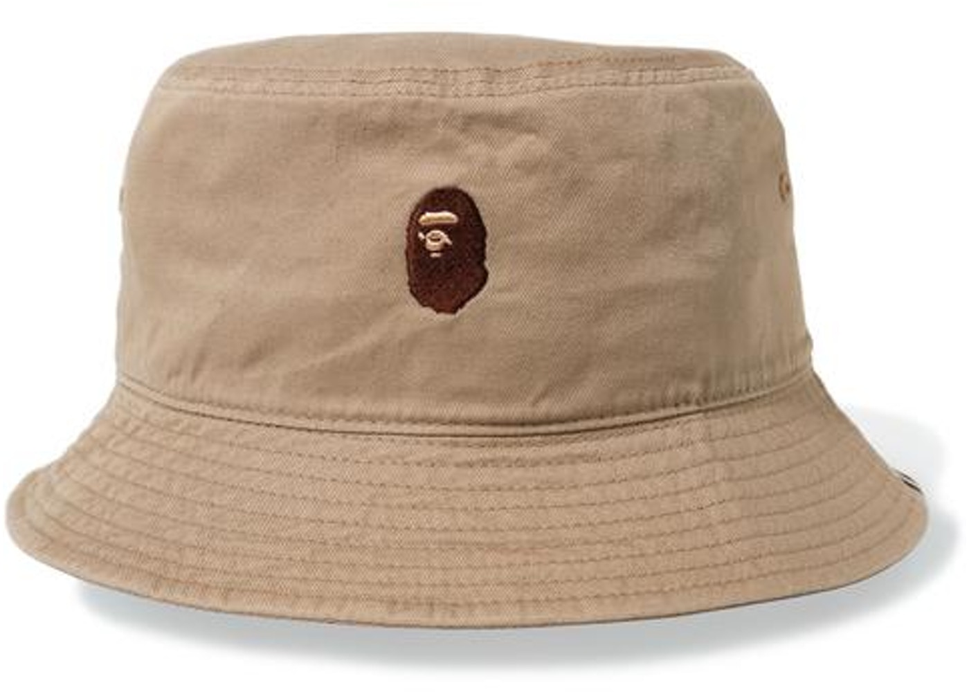fa923599f3f BAPE Ape Head One Point Bucket Hat Beige -