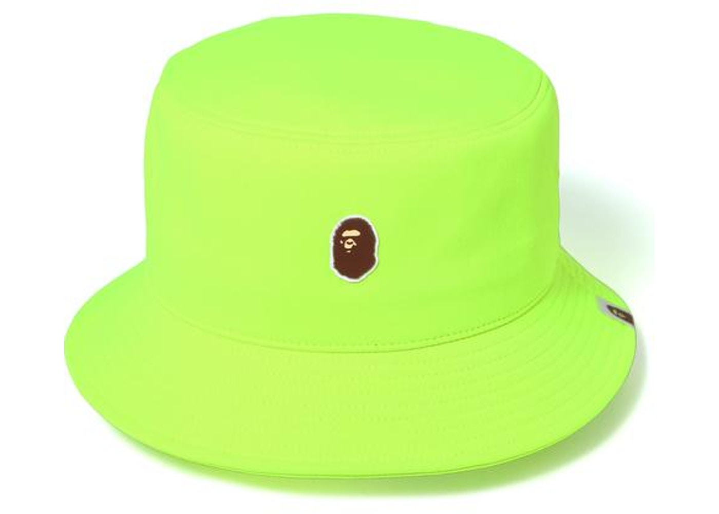 204802f2009 BAPE Ape Head One Point Bucket Hat Hat Lime -