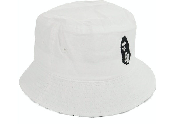 BAPE BA Apehead Neon Camo Accent Bucket Crusher Hat White d1d91072cbb