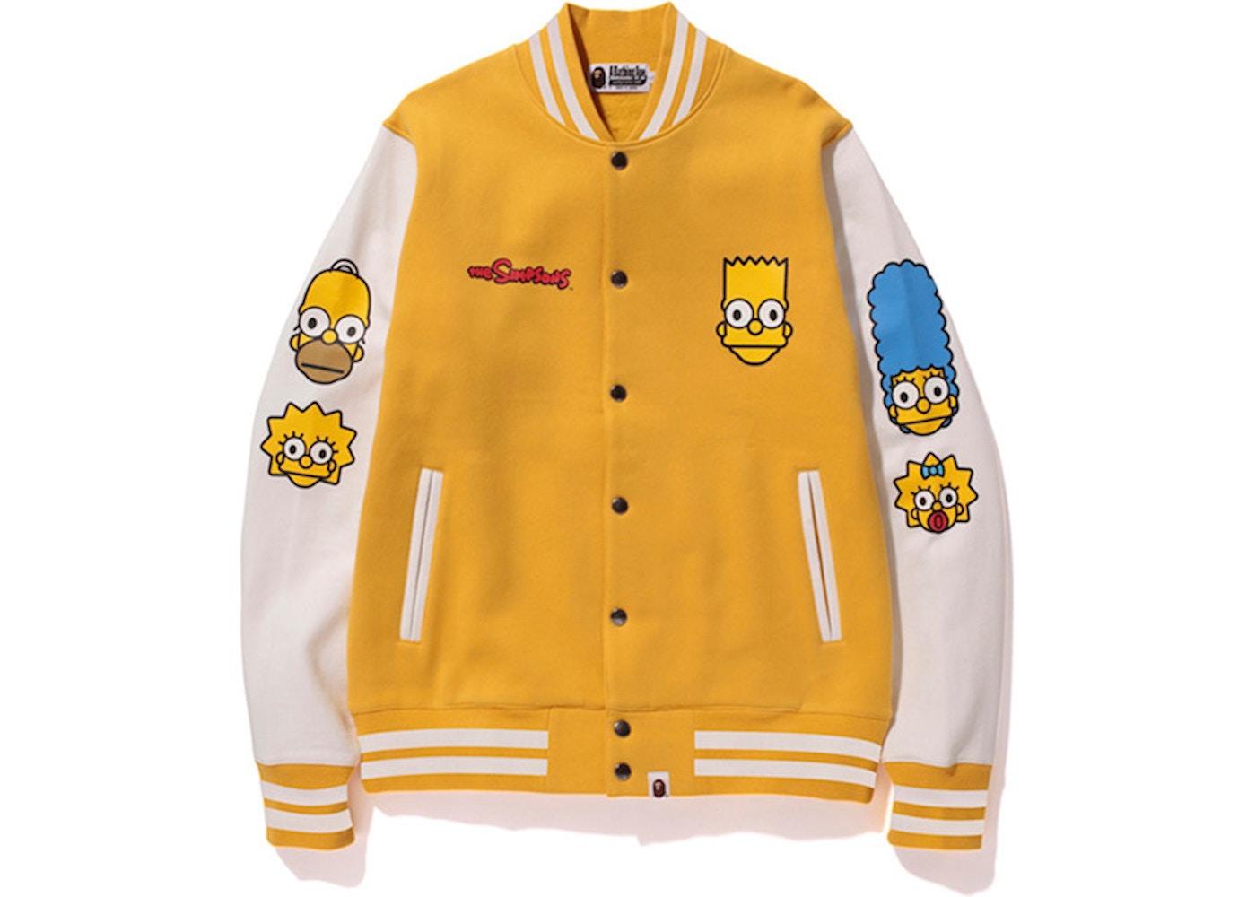32466c2d73a9 BAPE X The Simpsons Baby Milo Varsity Jacket Yellow - FW14