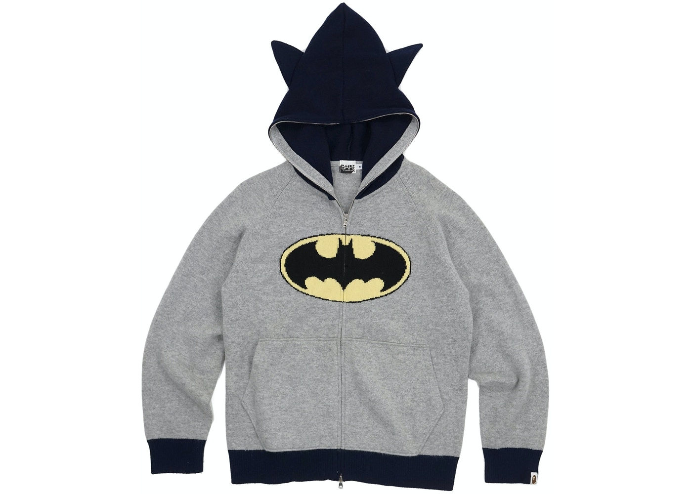 60b131195f65 BAPE Batman Angora Wool Blend Knit Full Zip Hoodie Grey -