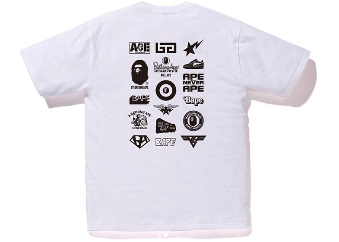 328064be0 BAPE Bicolor Multi Logo Tee White/Black - FW18
