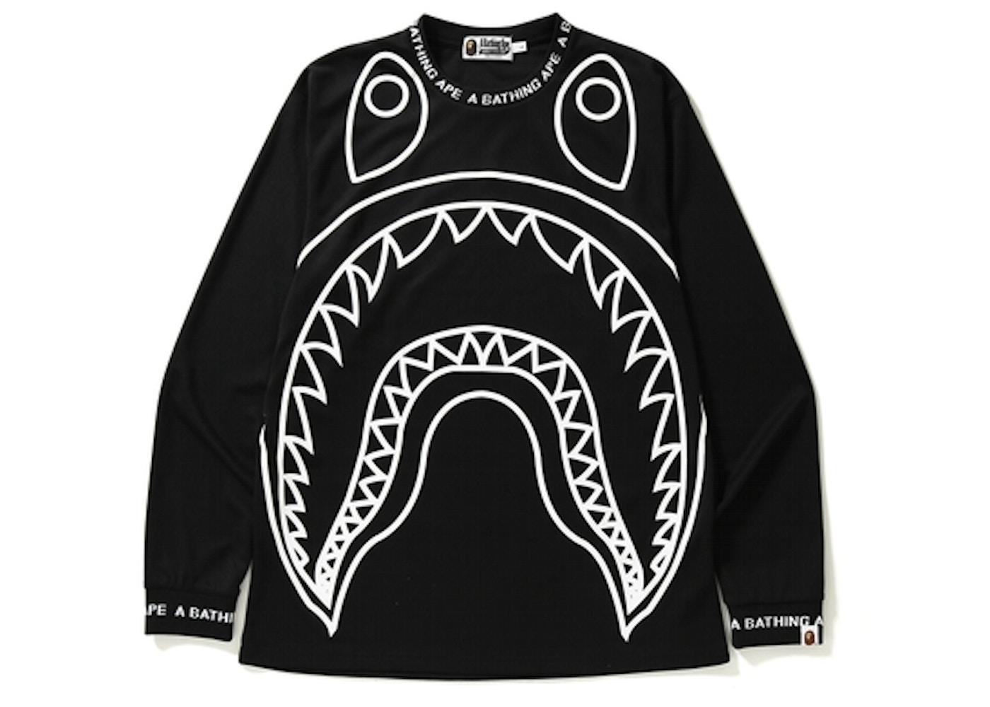 Bape Big Shark Logo Rib L S Tee Black