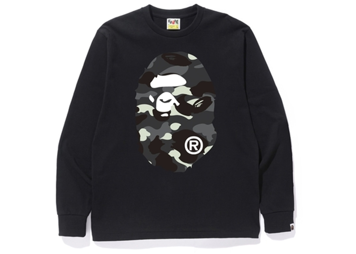 15cd2a1eb BAPE City Camo Big Ape Head L/S Tee Black -
