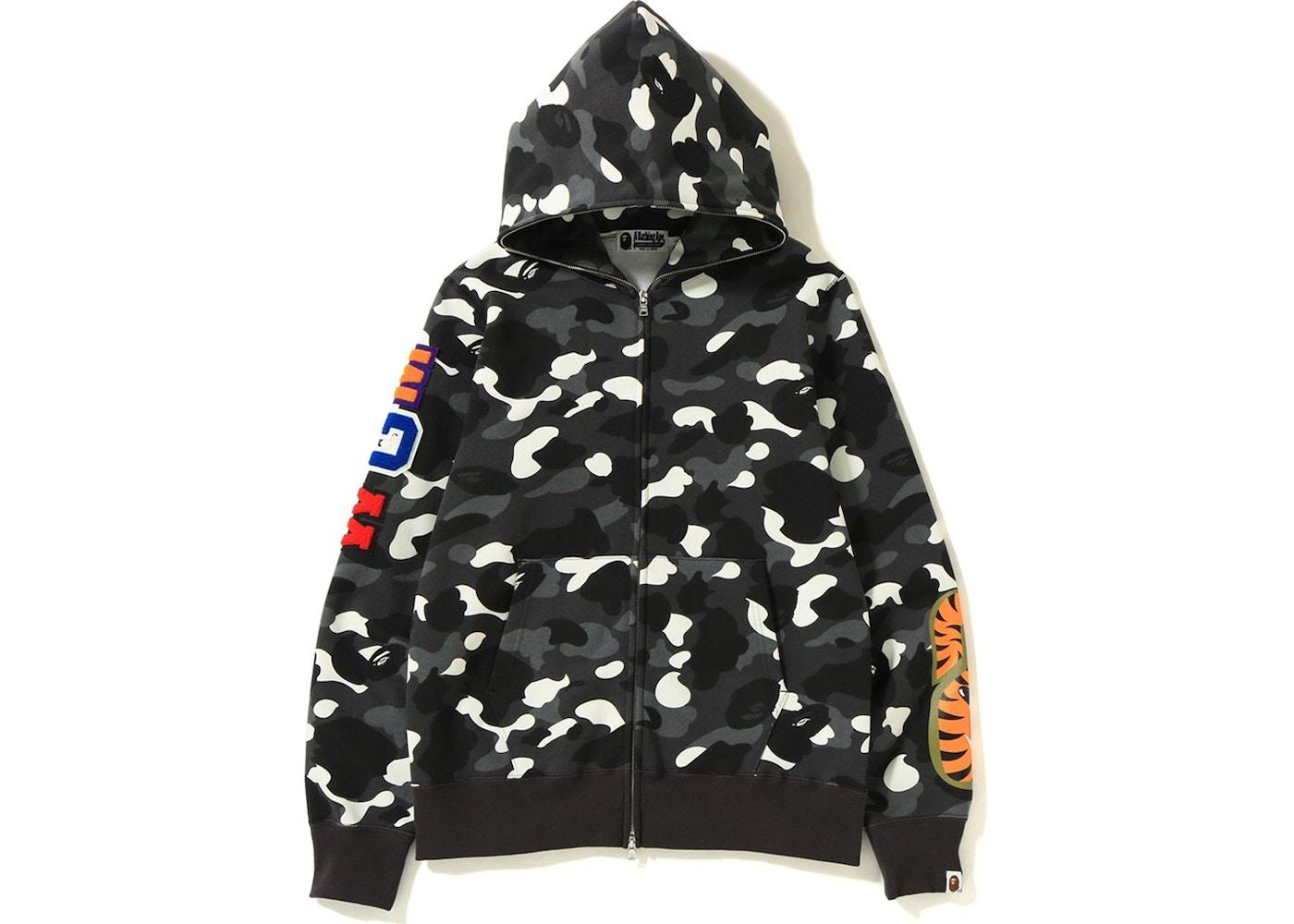 ce6f14e5b5cb BAPE City Camo Embroidery Shark Full Zip Hoodie Black - FW18