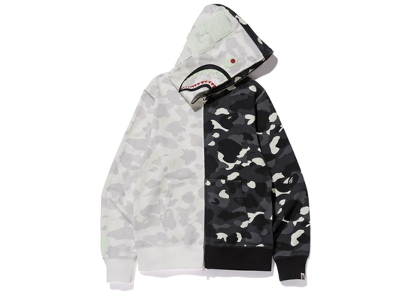 255ba785 BAPE City Camo Half Shark Full Zip Hoodie White/Black -
