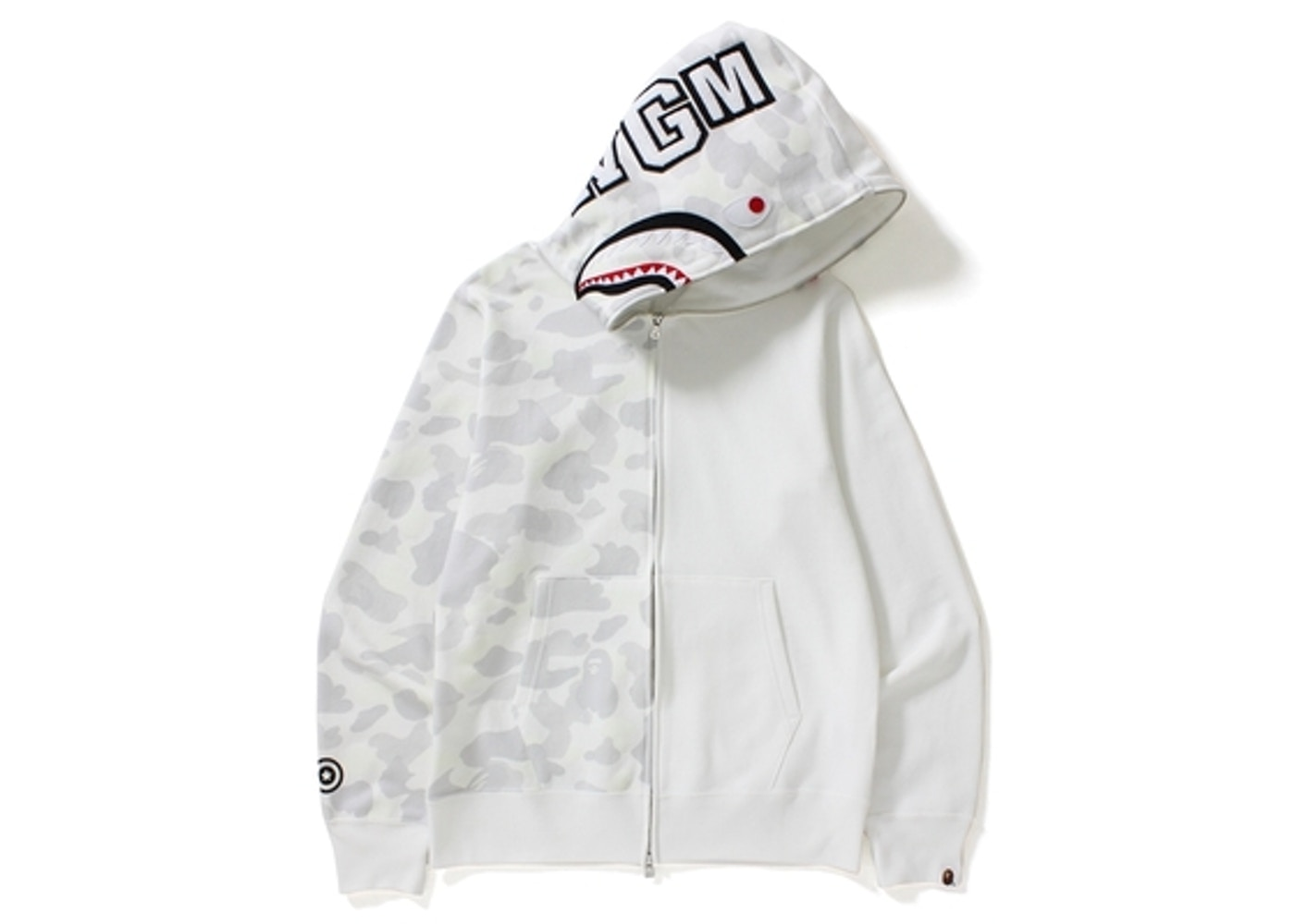 715f647c BAPE City Camo Half Shark Full Zip Hoodie White -