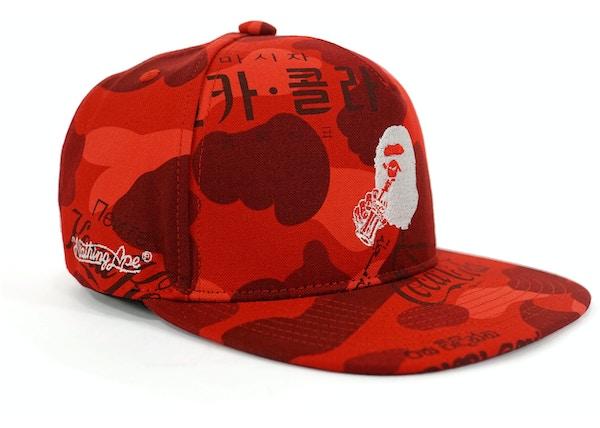 BAPE Coca Cola Camo Snapback Hat Red - 62033246934