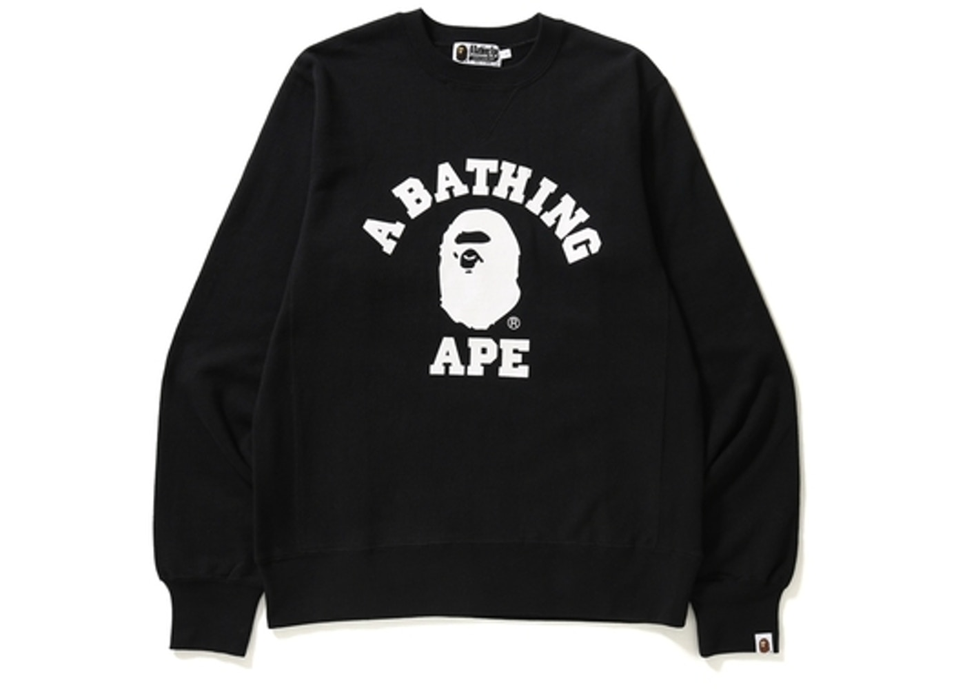7f1b96ad32ab BAPE College Crewneck Black White -
