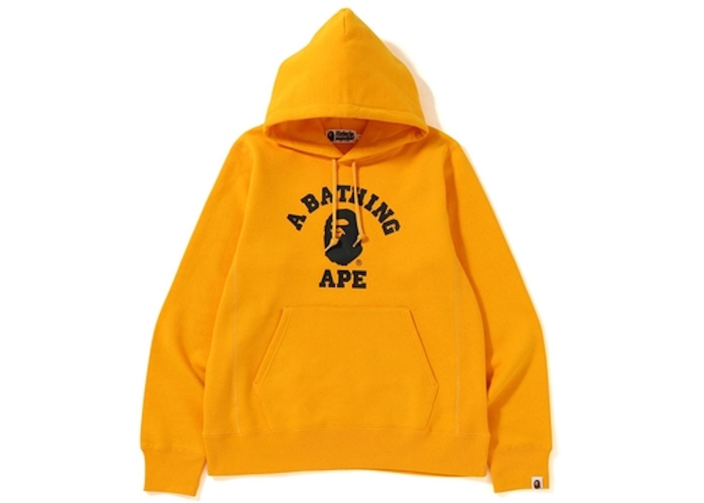 526ca666de1b BAPE College Heavy Weight Pullover Hoodie Yellow - FW18
