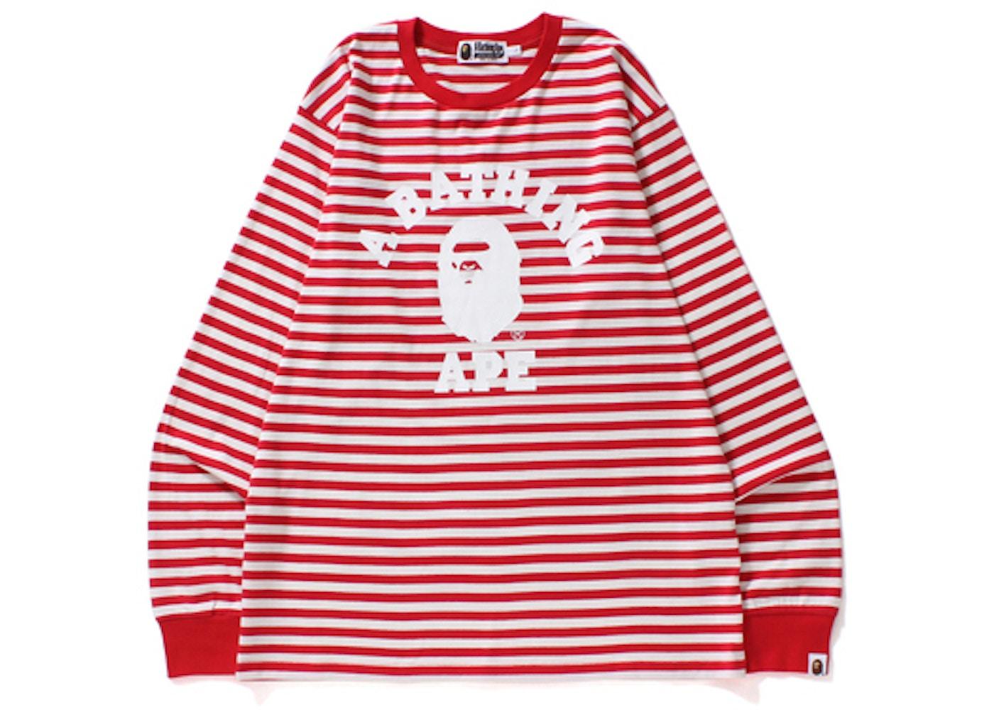 7348d17f BAPE College Hoop Long Sleeve Tee Pink/White -