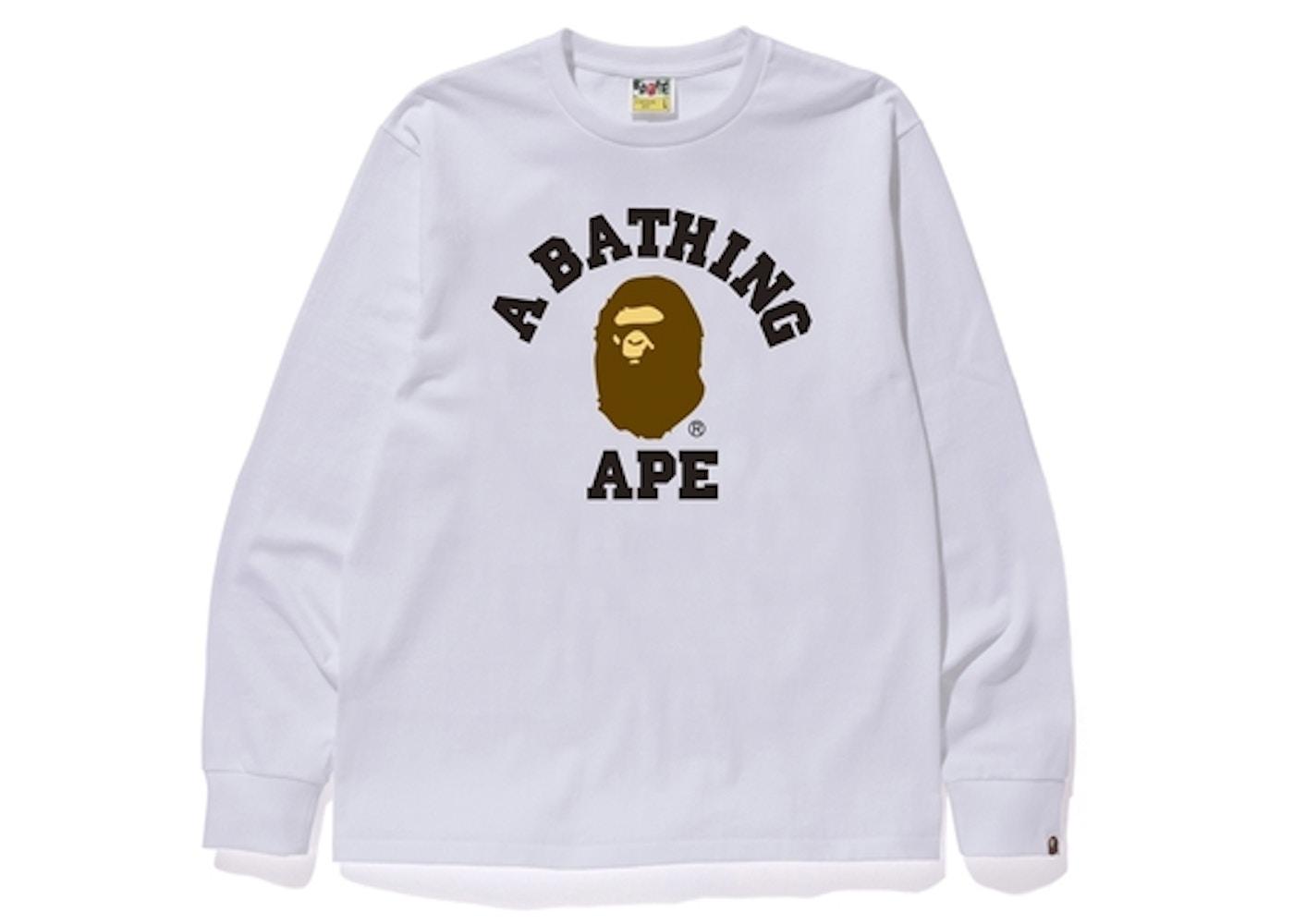 BAPE College L S Tee White - fad0a0d184e