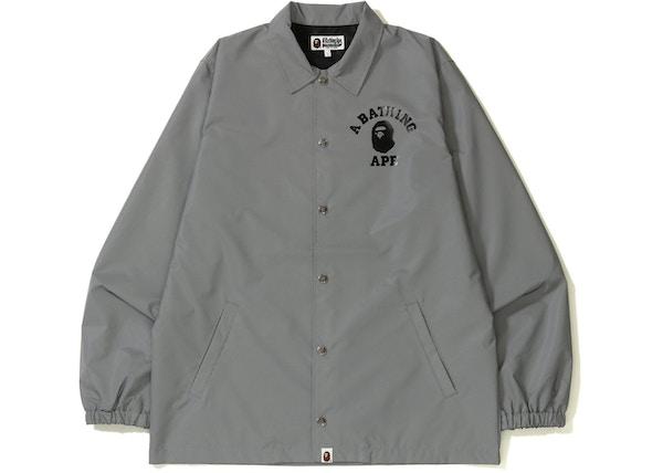 4b4135f8428c BAPE College Reflector Coach Jacket Grey