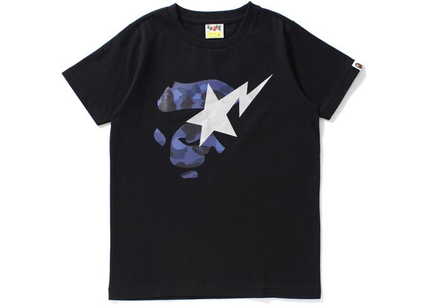 BAPE Color Camo Ape Face on Bapesta Tee Tee (Ladies) Black Navy - 9ef328938