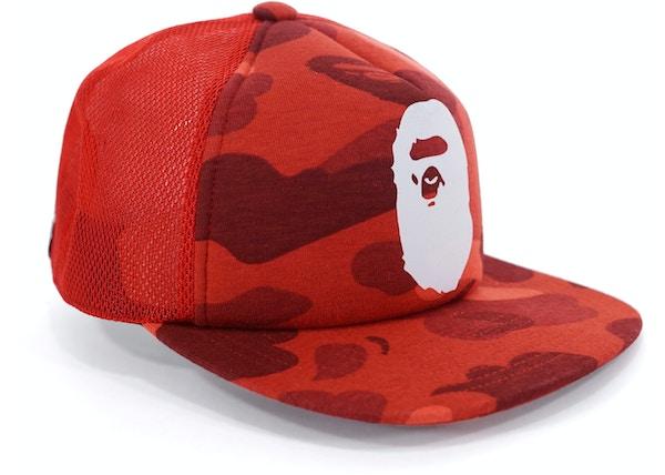 BAPE Color Camo Apehead Mesh Snapback Red 3d5dbfdfd2