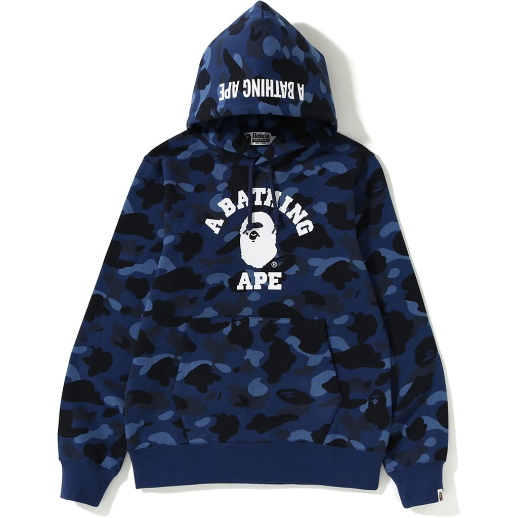 BAPE Color Camo College Pullover Hoodie Navy
