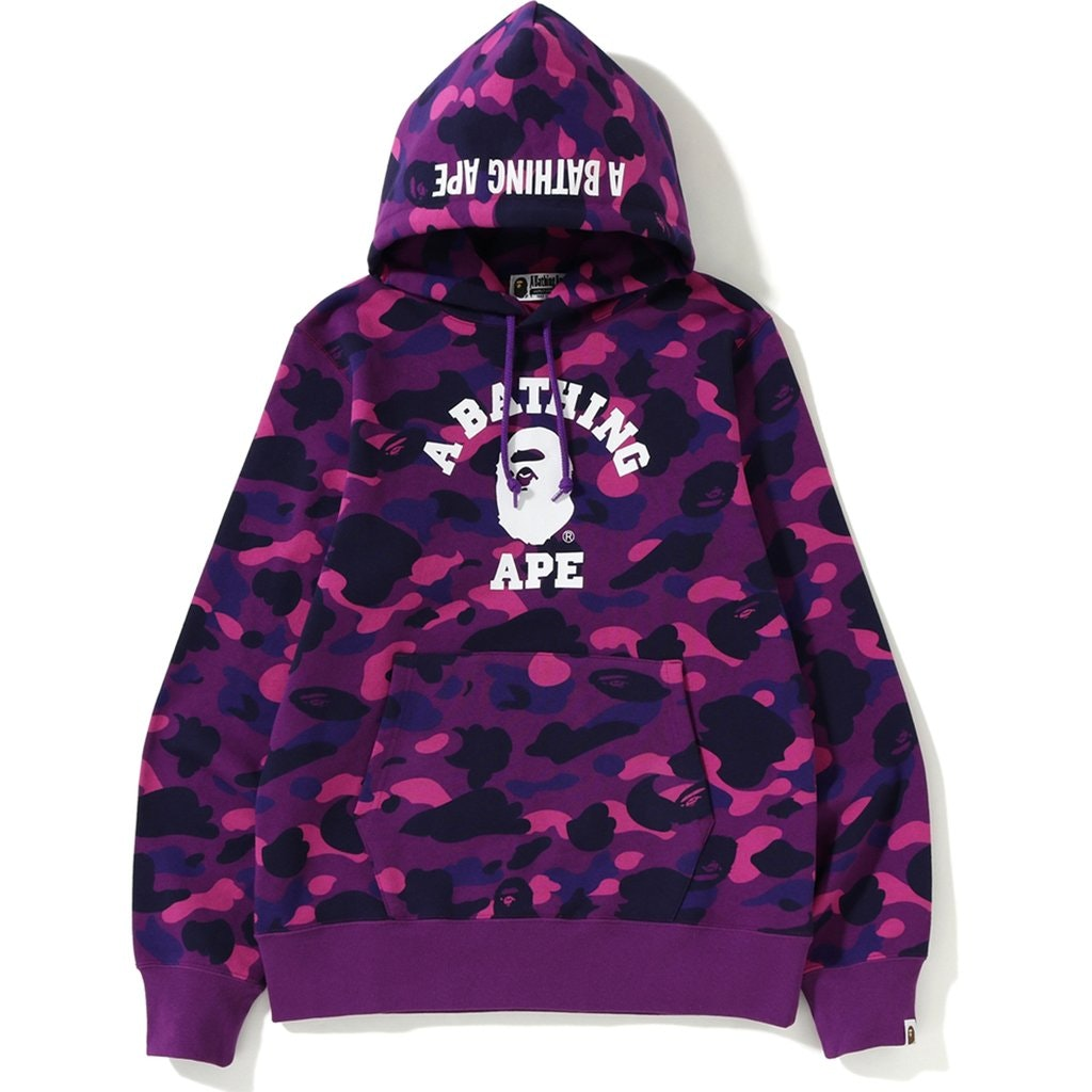BAPE Color Camo College Pullover Hoodie Purple