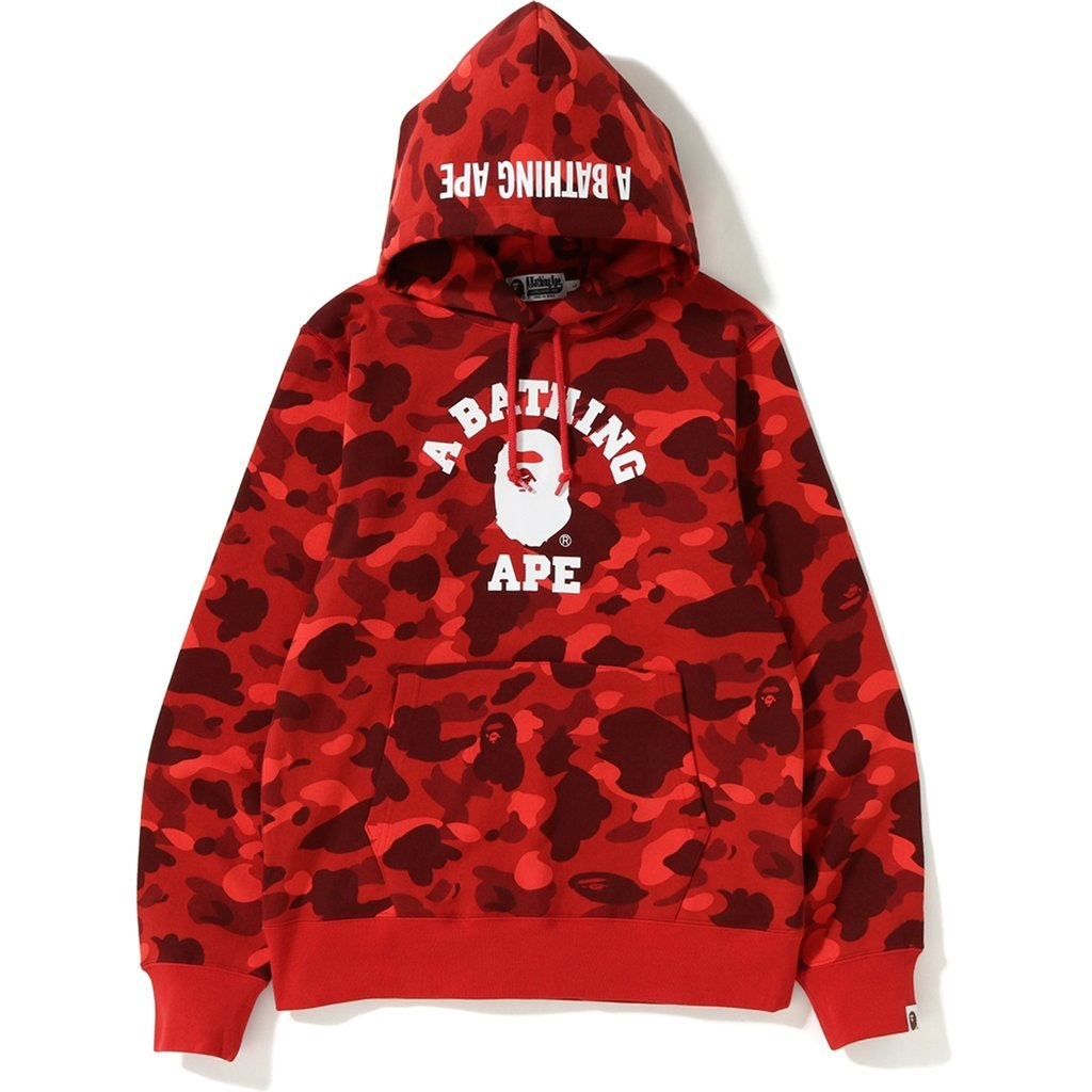 BAPE Color Camo College Pullover Hoodie Red