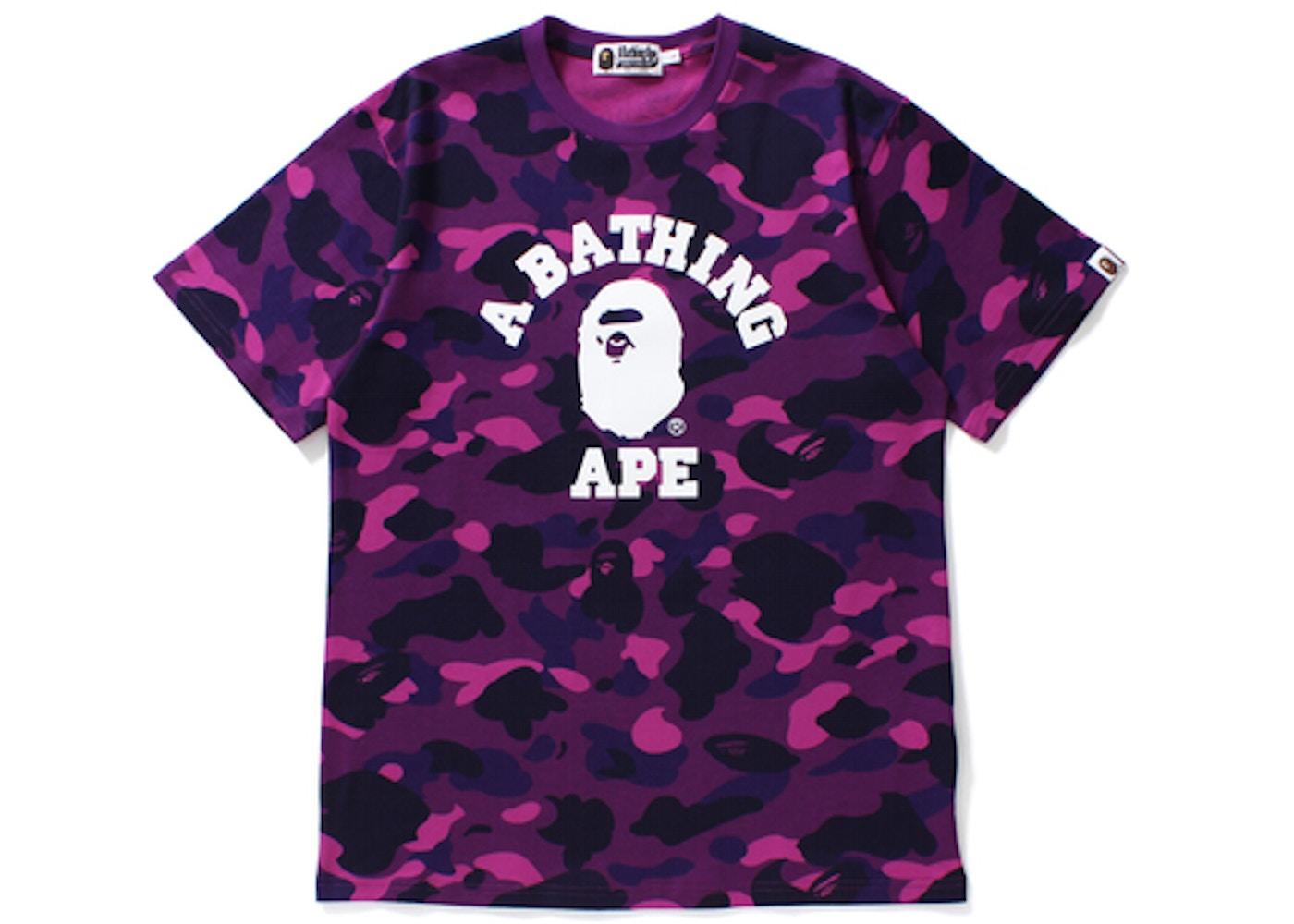 fbfe3800 BAPE Color Camo College Tee Purple -