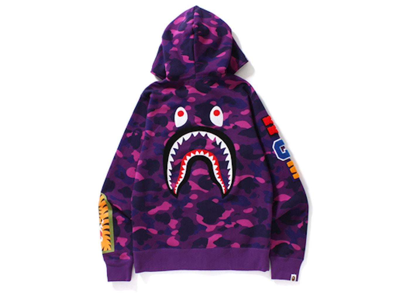 1d47b4e7261d BAPE Color Camo Embroidery Shark Full Zip Hoodie Purple -
