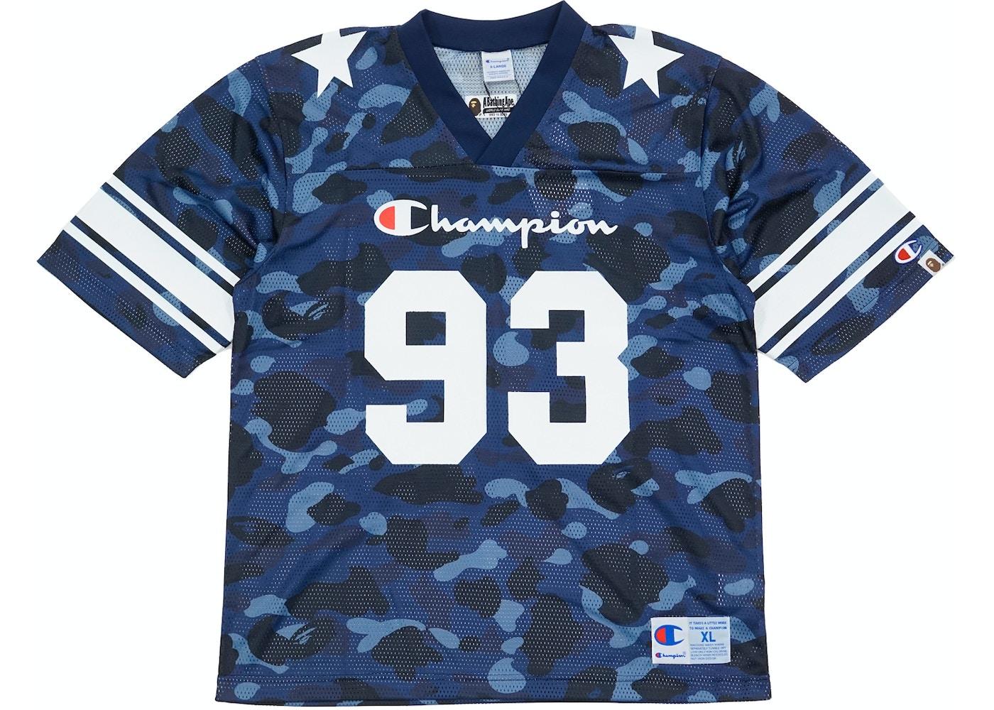 BAPE Champion Color Camo Football Jersey Navy - e2b8e19ce
