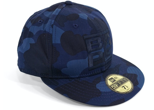 a05204a0693af BAPE Color Camo RUN DMC Logo Fitted Baseball Hat Blue