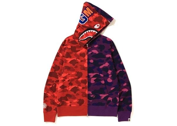 d3de641c BAPE Color Camo Separate Shark Full Zip Hoodie Red/Purple