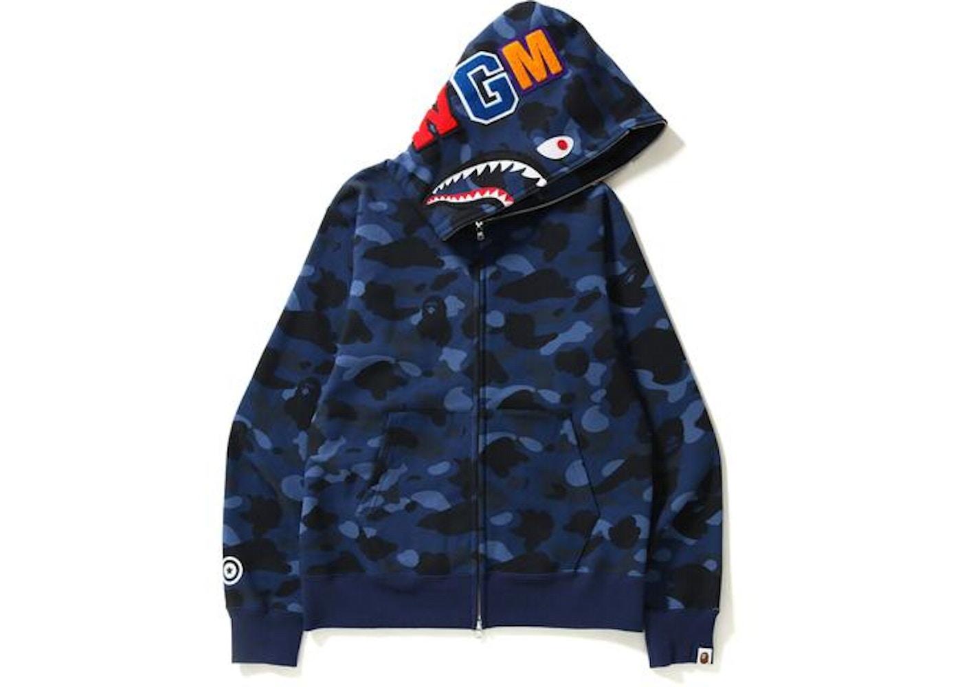 BAPE Color Camo Shark Full Zip Hoodie Blue - c4fc693f4a3a1