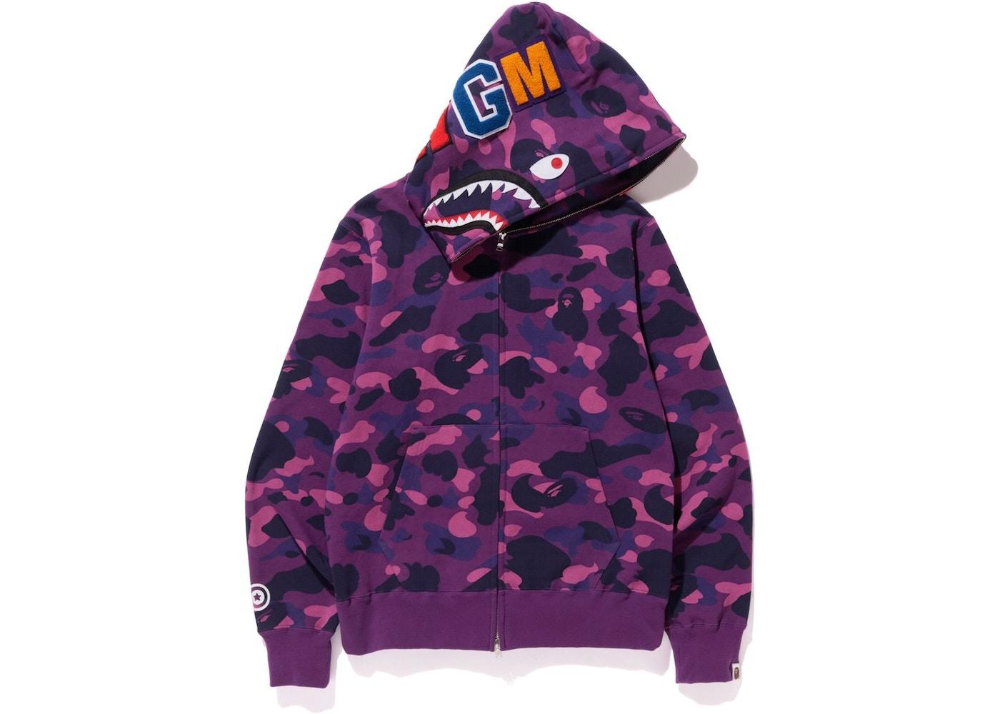 BAPE Color Camo Shark Full Zip Hoodie Purple - ee4b92bde