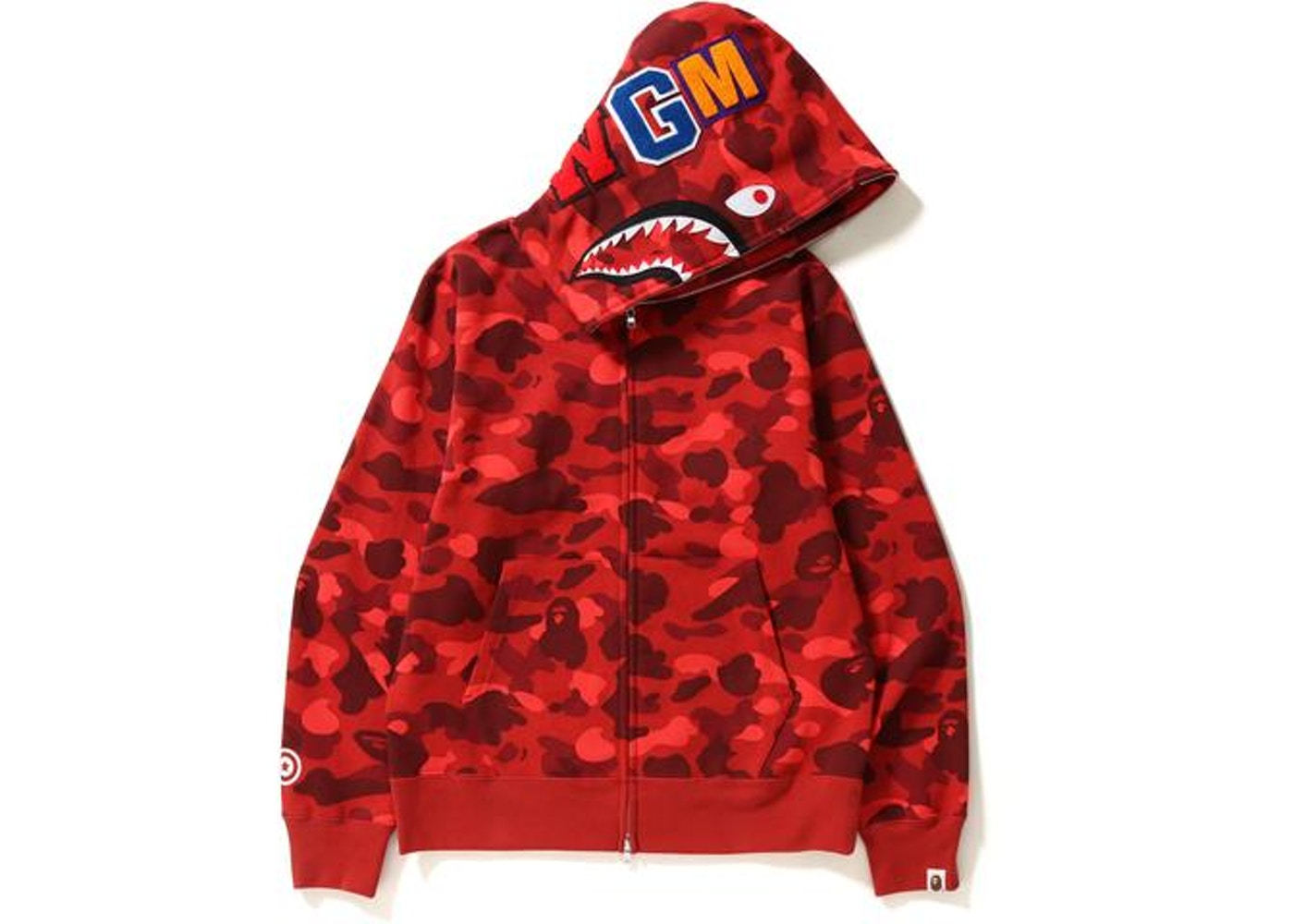 6ae345d8 BAPE Color Camo Shark Full Zip Hoodie Red -