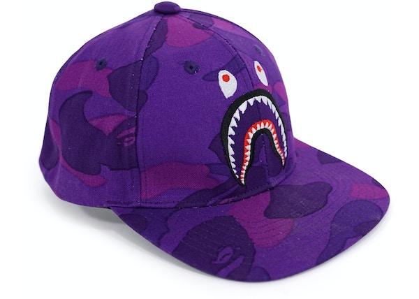 e46e267ae6b BAPE Color Camo Shark Snapback Cap Purple