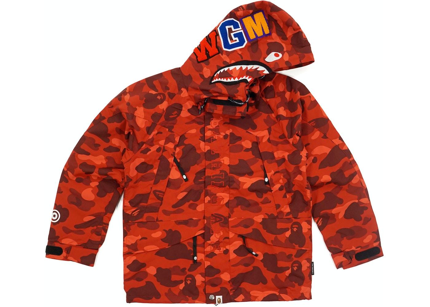 3d0399fd4ec3 BAPE Color Camo Shark Snowboard Jacket Red -