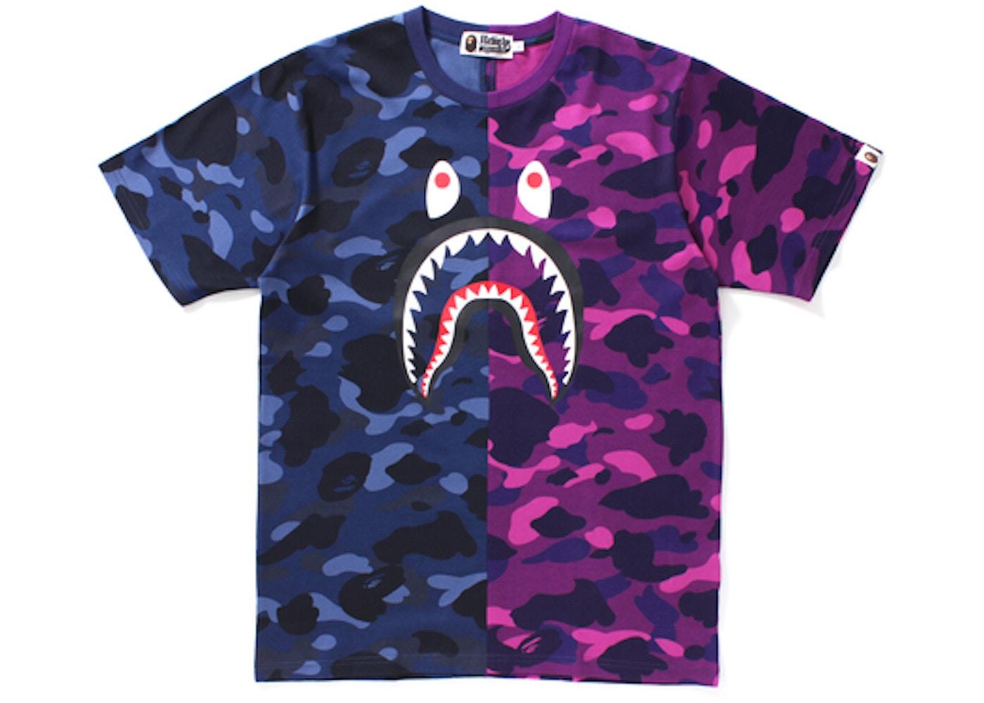 52984f97 BAPE Color Camo Shark Tee Navy/Purple Camo -