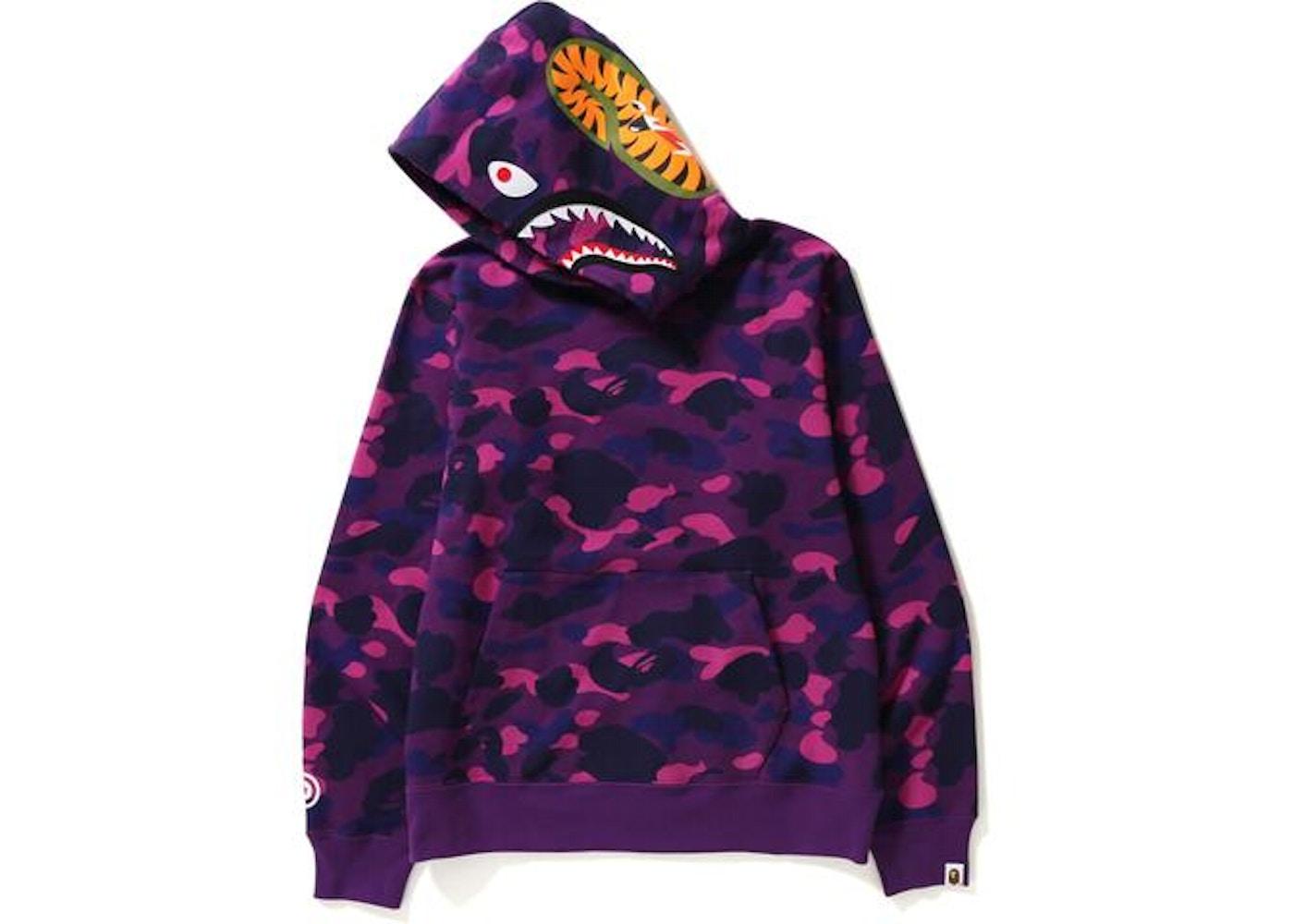 00b196f6078f BAPE Color Camo Shark Wide Pullover Hoodie Purple -