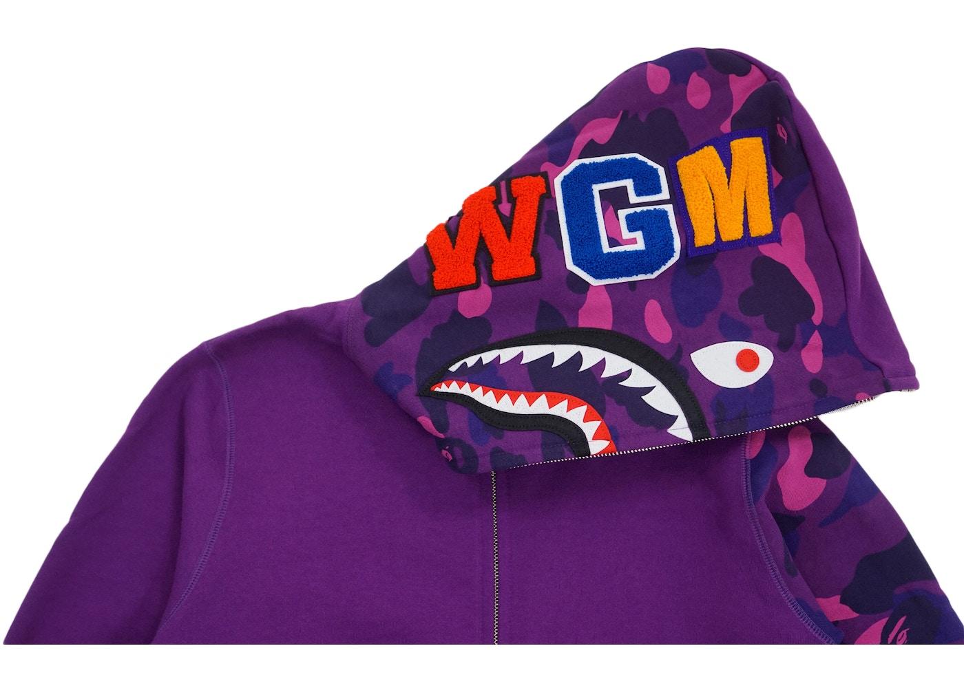 e03bff656bf9 BAPE Color Camo Sleeve Shark Hoodie Purple -