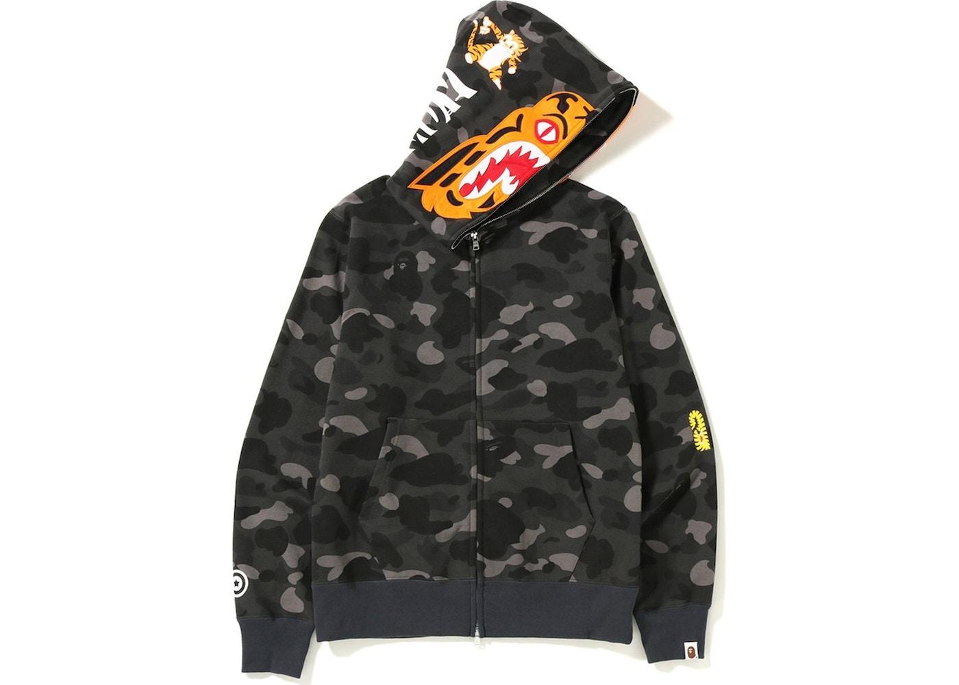 cd9d517455ff BAPE Color Camo Tiger Full Zip Hoodie Black. Color Camo Tiger Full Zip