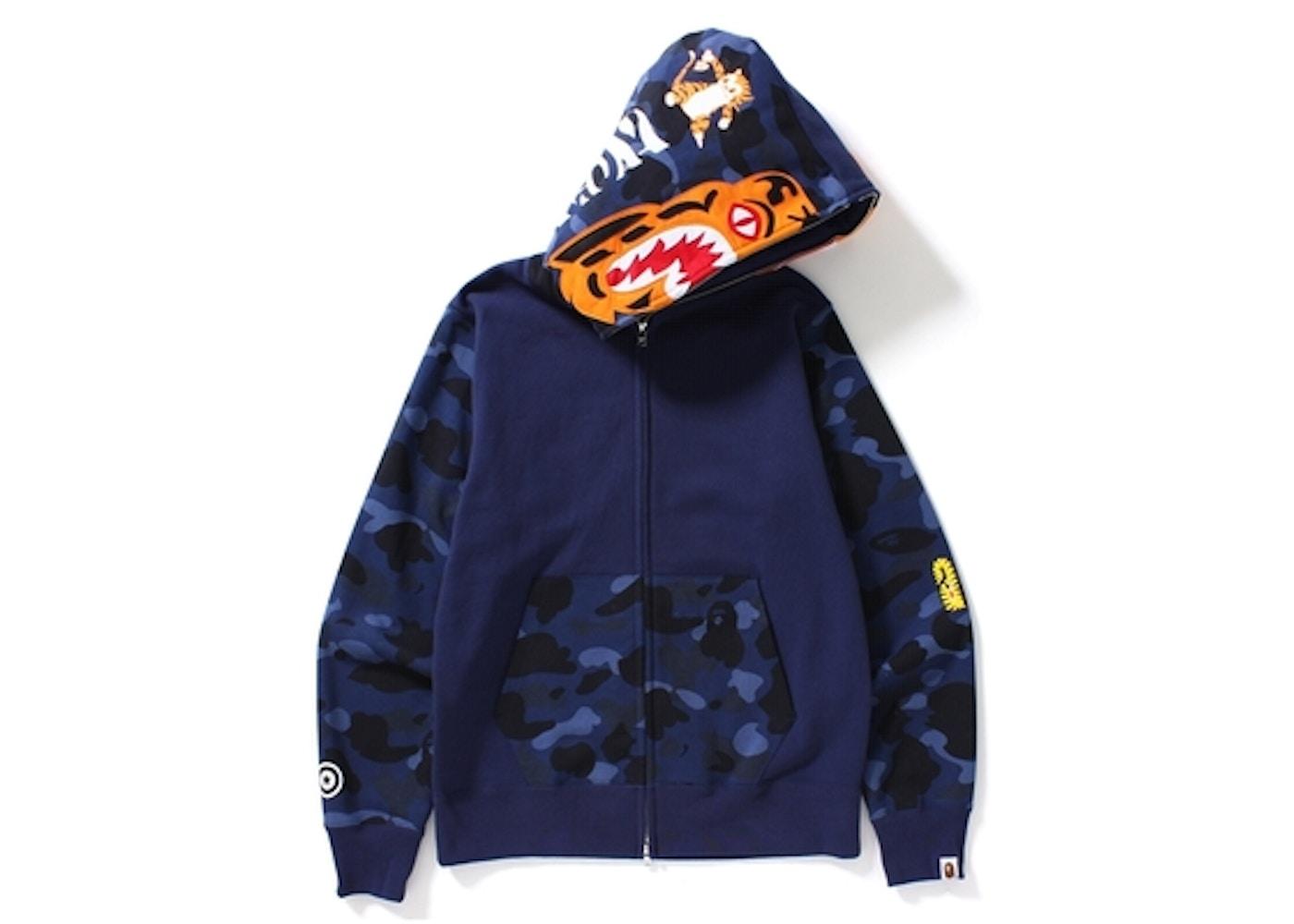 e3c0c173a162 BAPE Color Camo Tiger Full Zip Hoodie Navy -
