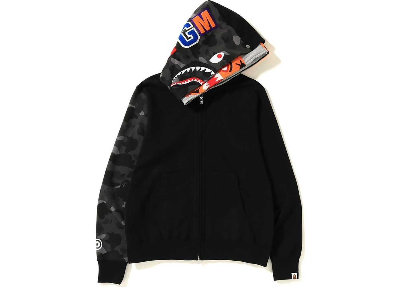 060b10115d61 BAPE Color Camo Tiger Shark Full Zip Double Hoodie Black - FW18