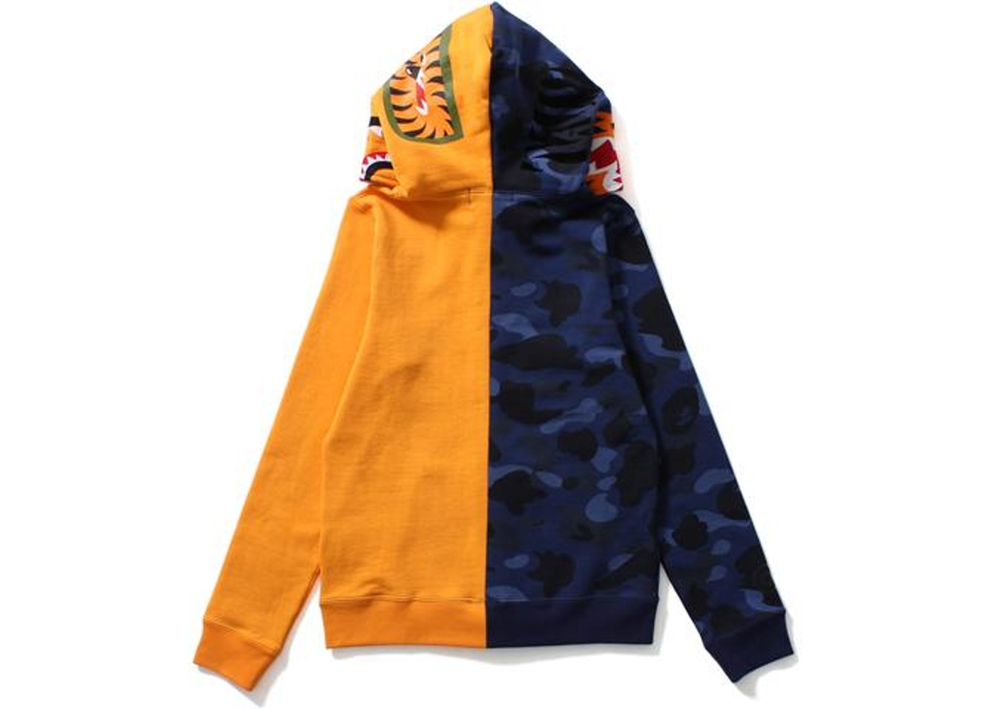 05e44d40 BAPE Color Camo Tiger Shark Half Full Zip Hoodie (Ladies) Blue/Orange -