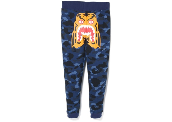 super popular 4de4a 020f9 BAPE Color Camo Tiger Slim Sweat Pants Blue