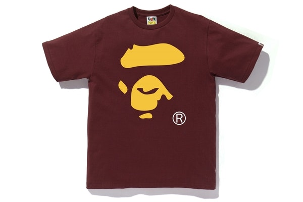 Bape Colors Ape Face Tee Burgundy