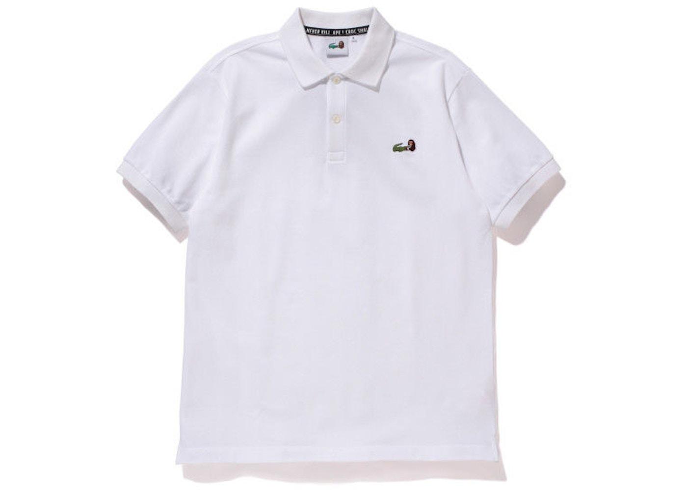b8ef4e22 BAPE X Lacoste Embroidered Logo Polo Shirt White - SS15