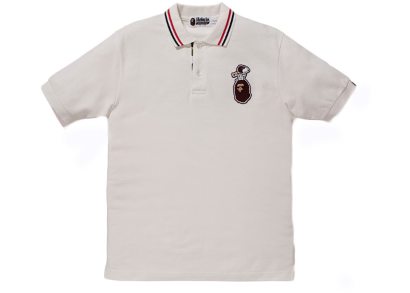 07d26b82 BAPE X Peanuts Flying Ace Snoopy On Apehead Embroidered Polo Shirt ...